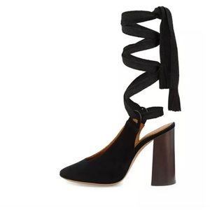 Chloe Black Lace Up boho chunky heel